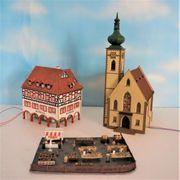 H0 Faller Rathaus Kirche beleuchtet