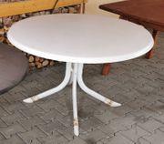 Gartentisch weiß rund 1 1m