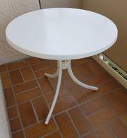 Gartentisch runde Tischplatte weiss Durchm