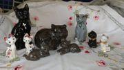 Porzellanfigur TOP Katzenfigur Katzemutter Kinder