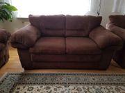 Sofa-Set braun 3-teilig Wildlederoptik zu