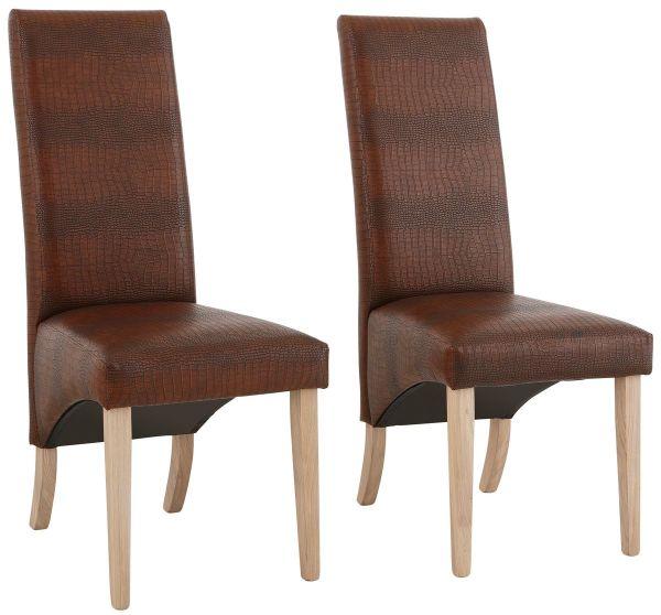 Prägung Neu Esszimmer Stühle Kroko Küchenstühle 4x Braun k0Z8nwOPXN