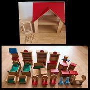 Echtholz Puppenhaus mit 29 teiligem