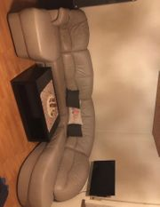 Graue Echtleder Couch