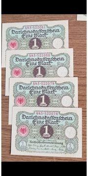 eine Reichsmark Scheine Banknoten Noten