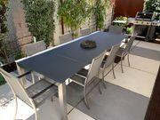 Edelstahl Gartentisch mit 10 Stühlen