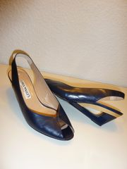 Elegante Damenschuhe dunkelblau mit Goldanteil