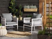 Gartenstuhl Aluminium weiß Auflagen grau