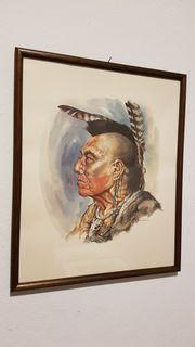 Indianer Edel Grafik Amerika Mohikaner