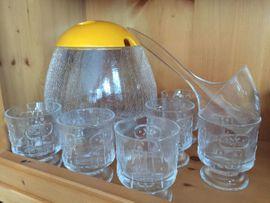 Glas Bowle Set, Schale, 6 Gläser Löffel