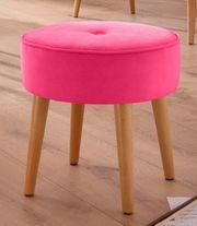 NEU Hocker Samt Pink Rund