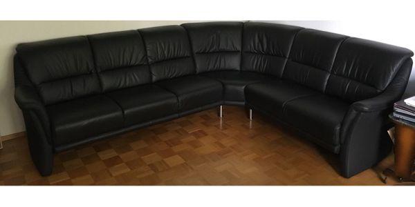 Leder-Eck-Couch schwarz