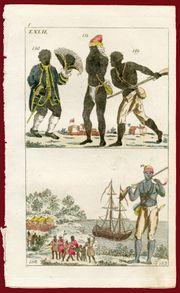 Wilhelm-Trachten-Originalkupferstich-Afrikaner Republik Jamaika