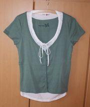 Damen Lagenlook Kurzarm T-Shirt 2in1
