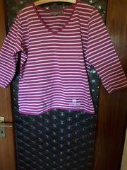 Stretch-Langarm-Shirt Gr 50 himbeer-weiß gestreift