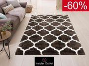 -60 Hochflor-Teppich 280x380 grau-weiß Gitter