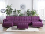 Schlafsofa U-förmig Polsterbezug violett mit