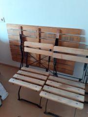 Älterer Eisen Holz Klapptisch mit