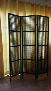 Holz-Paravent Raumteiler 3-teilig Farbe schwarz
