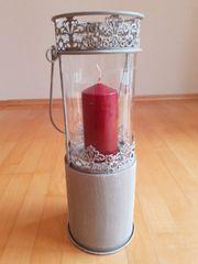 Goßes Windlicht mit Kerze Vintage