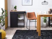 Teppich Leder schwarz 160 x