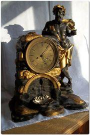 Wiener Figurenuhr-Tischuhr-Kaminuhr 19 Jahrh Brunnenautomat-Chronos-Fadenpendel