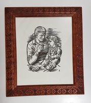 Holzschnitt Mutter mit Kind Liebe