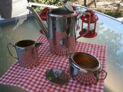 Kaffee-Kanne Set - silberfarben - Rarität