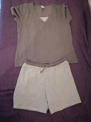 Kurzer Schlafanzug grün grau