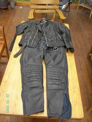 Motorradkombi schwarz geteilt echt Leder