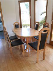 Esstich Tisch mit 6 Stühlen