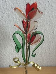 Glas Vase Blumensträußchen Vintage 60er