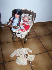 Antiker Puppenwagen Babypuppe Cellba-Zelluloid u