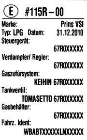 Einbauschild für Gasanlagen LPG CNG