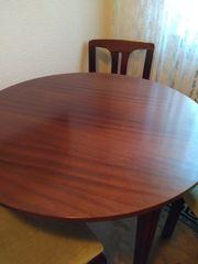 Tisch Mahagoni rund und 3