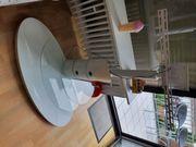 Neuwertiger schneeweisser Phonoturm mit Glasfläche