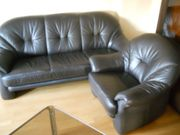 Ledercouch Sofa mit Sessel