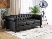 3-Sitzer Sofa Kunstleder schwarz CHESTERFIELD neu
