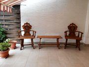 Antike Sitzgruppe aus Eiche von