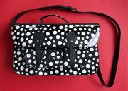Handtasche Lack schwarz weiss