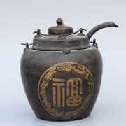 Glück-Teekanne Antik Bronze Kran Gold