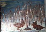 Gemälde Bild Enten mit Nest