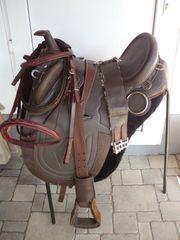 Stocksattel mit Horn in braun