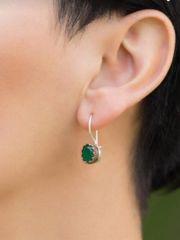Smaragdstein handgefertigte Silberohrringe