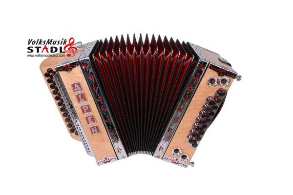 Steirische Harmonika Alpen Compact Vogelaugenahorn