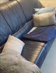 Sitzgarnitur 3-2-1 echt Leder nachtblau