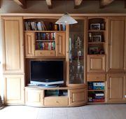 Wohnzimmerschrank mit Highboard und Vitrinenschrank