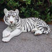 Liegender Tiger weiß 99 cm
