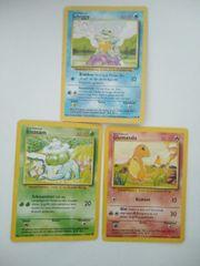 Bisasam Glumanda Schiggy-pokemon karten- Deutsch-sehr