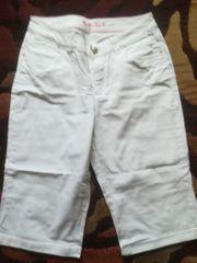 Jeans weiß Sweetjacke weiß